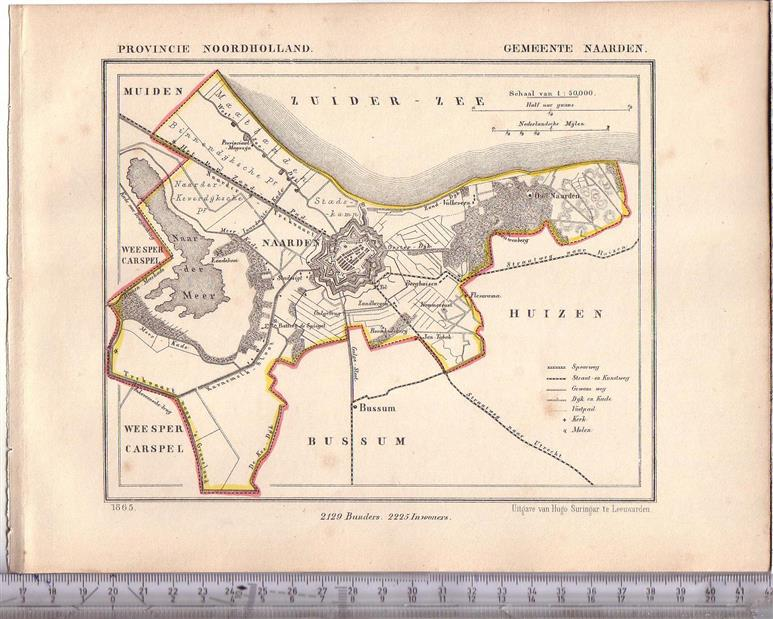 Map showing Naarden and Bussum