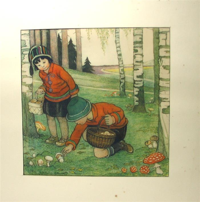Midderigh-Bokhorst B. - AUTUM - HERFST  Original drawing ( 32Cm x 32Cm. ). Hand Coloured.  Featuring :  Small Children picking mushrooms in a forrest / Kinderen plukken paddestoelen in het bos