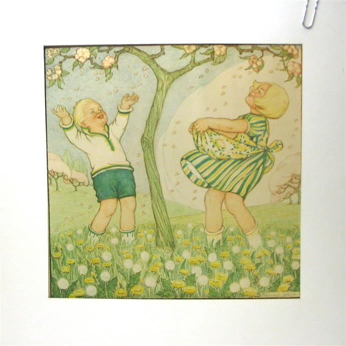 Midderigh Bokhorst B. - SPRING - LENTE : Original drawing ( 32Cm x 32Cm. ). Hand Coloured.  Featuring :  Small Children in spring with fruit blossom in an orchard/ Kinderen in het voorjaar met fruitbloesem in een boomgaard.