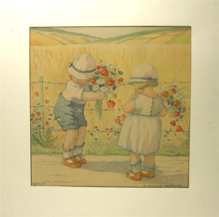 Midderigh Bokhorst B. - SOMMER - ZOMER : : Original drawing ( 32Cm x 32Cm. ). Hand Coloured.  Featuring :  Small Children picking summer flowers beside a cornfield/ Kinderen plukken zomerbloemen naast een graan akker.