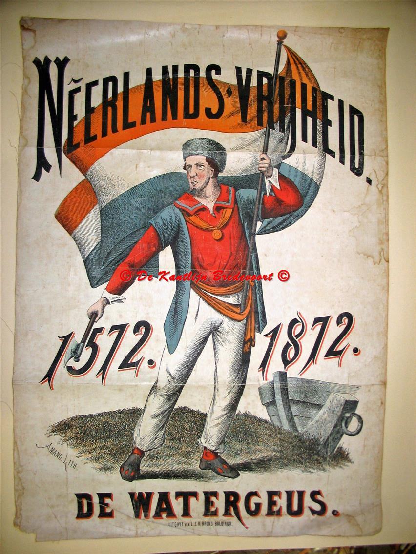 n.n. / wall chart / Schoolplaat / School Poster / School chart / Teaching chart, poster / schoolkaart - ( SCHOOLPLAAT ) Neerlands vrijheid. De Watergeus.
