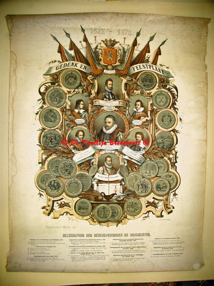 n.n. / wall chart / Schoolplaat / School Poster / School chart / Teaching chart, poster / schoolkaart - ( SCHOOLPLAAT ) Gedenk en feestplaat 1572 - 1872. Beschrijving der gedenkpenningen en noodmunten.