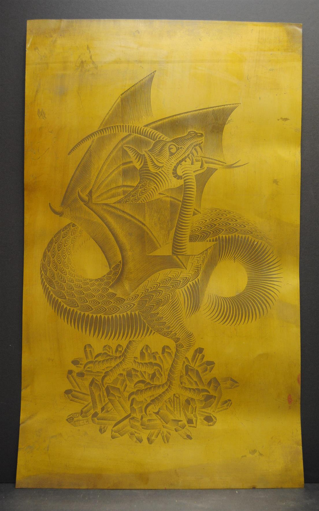 Escher M.C. ( artist ) - Draak - Dragon - Original copper printing plate MC Escher Bool 379 . MC ESCHER
