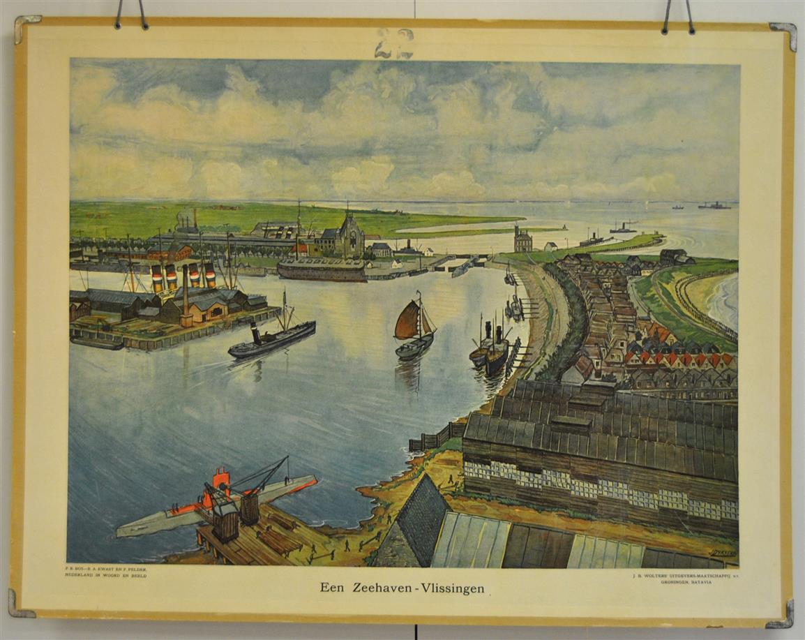 P.R. BOS B.A. KWAST EN F. PELDER ( NEDERLAND IN WOORD EN BEELD) ILLUSTRATIE J. DIJKSTRA - (SCHOOLPLAAT) Een Zeehaven - Vlissingen