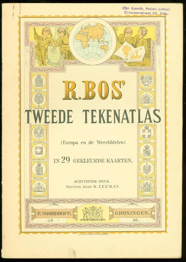 BOS, R. - R. Bos' tweede tekenatlas: Europa en de werelddeelen: in 29 gekleurde kaarten , Tweede tekenatlas, 2e tekenatlas